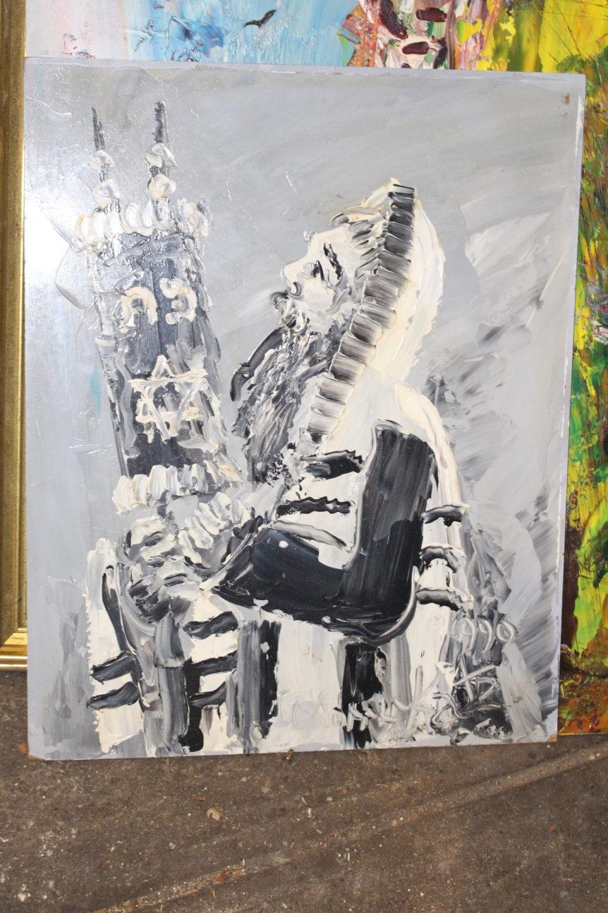Rabbi Praying Morris Katz Judaica Art Gallery Brooklyn