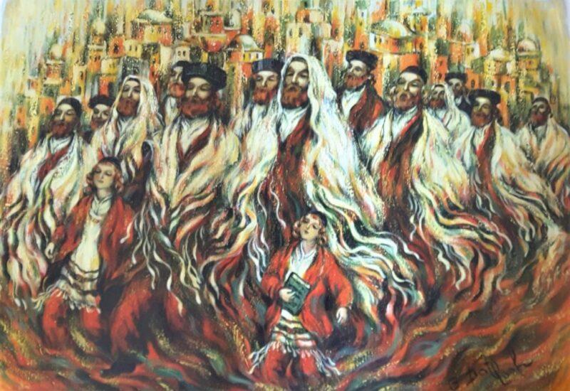 Jews walking to pray painting on oil jewish art manhattan
