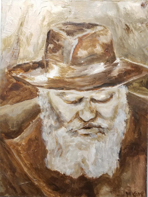 Rebbe Menachem Mendel Schneerson on oil painting - M. Karp Judaica