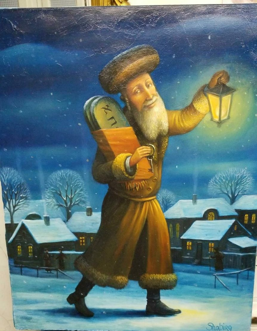 Jew with tablets and lantern painting in the winter shtetl jewish art manhattan