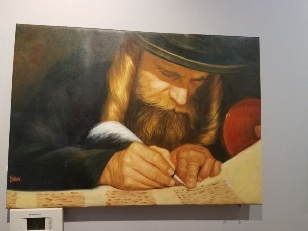 Jewish Scribe with huge peyot scribe sofer oil painting jewish art manhattan