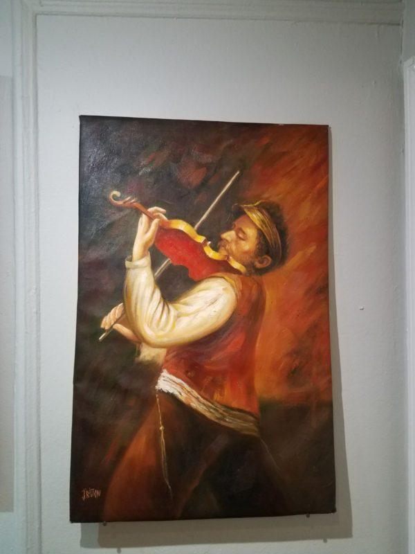 Jewish Art Fiddler Judaica Oil Painting
