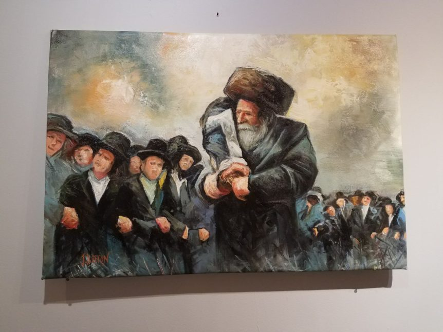 Orthodox Jews in Streimels dancing with Torah painting jewish art manhattan