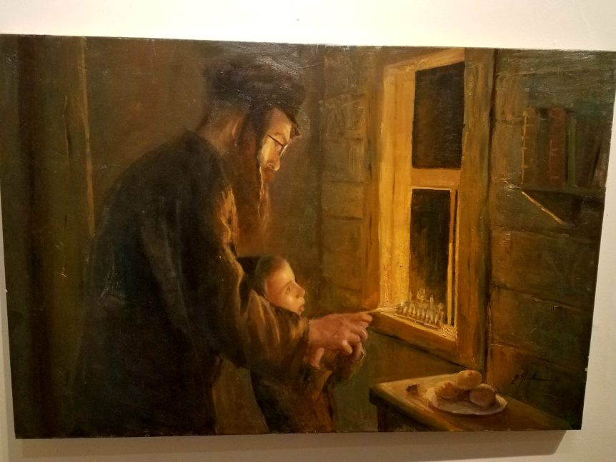 lighting the Hanuka candles oil father and son Painting jewish art manhattan