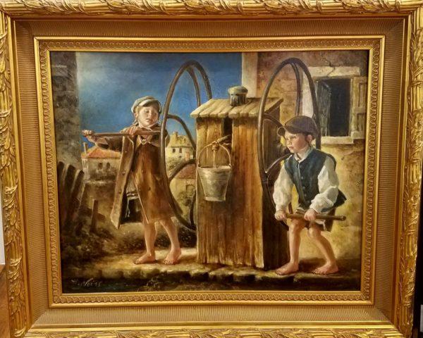 Jewish children well painting jewish art manhattan