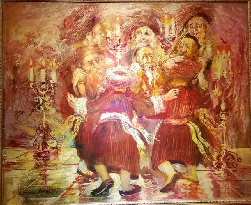 "Judaica Artwork for Sale in New York ""Dancing Rabbis"" by Lesya Bershov, oil on canvas, 31x38"