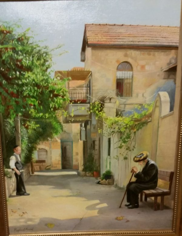 """Jewish Art for Sale on Long Island """"Meah Shearim"""", by Raphael Nouril, oil on canvas"""
