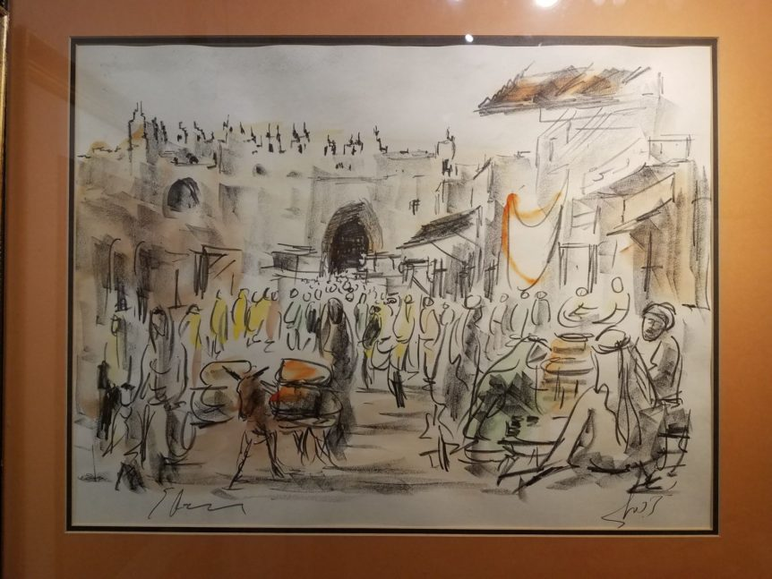 """Sabbath Jerusalem"" by Itzak Holtz, oil on canvas framed, 5 3/4 x 11 3/4 jewish art manhattan"