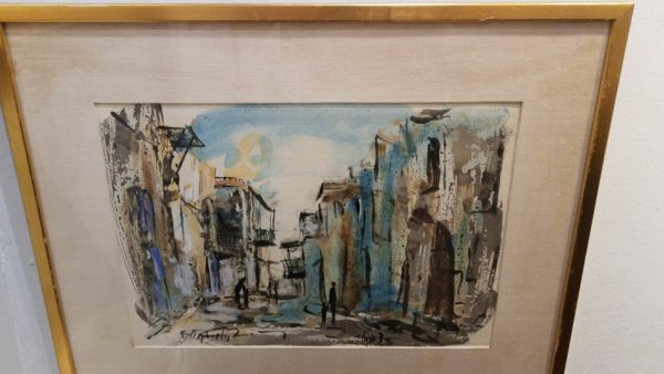 """Sabbath Jerusalem"" by Itzak Holtz, oil on canvas framed, 5 3/4 x 11 3/4 - beautiful judaica artwork"