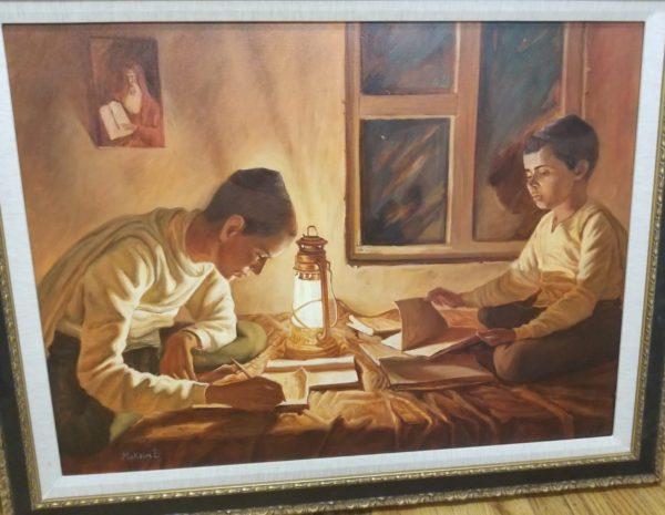 Jewish Children study painting,jewish art manhattan