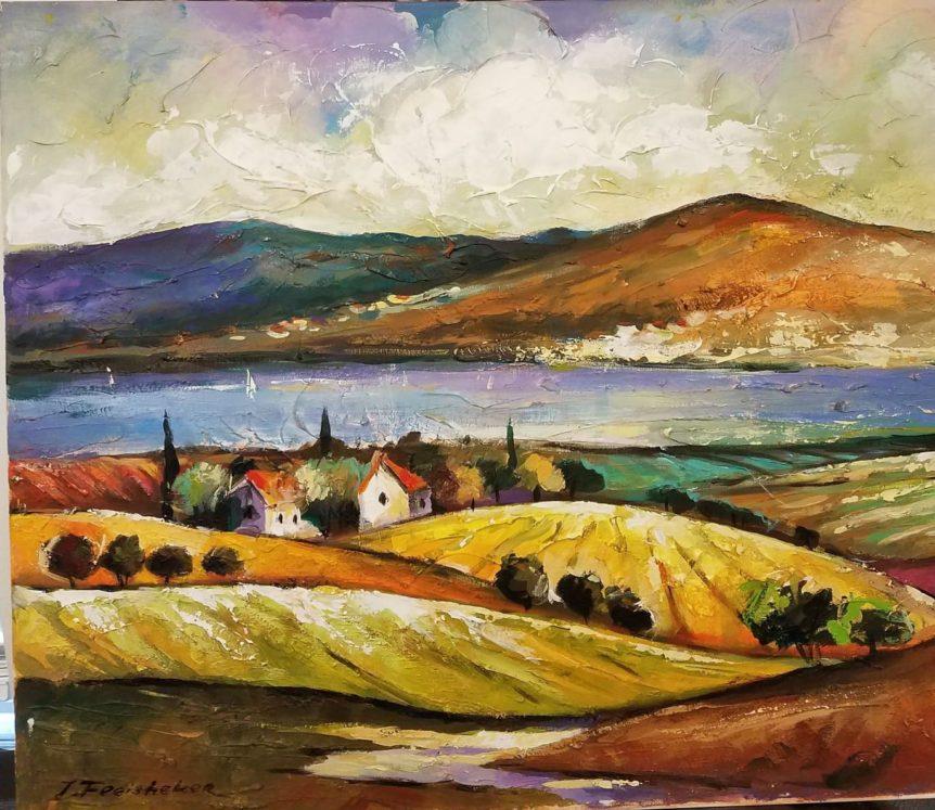 "Fleisheker - ""The Kineret"" Hillside painting Leviim art gallery"
