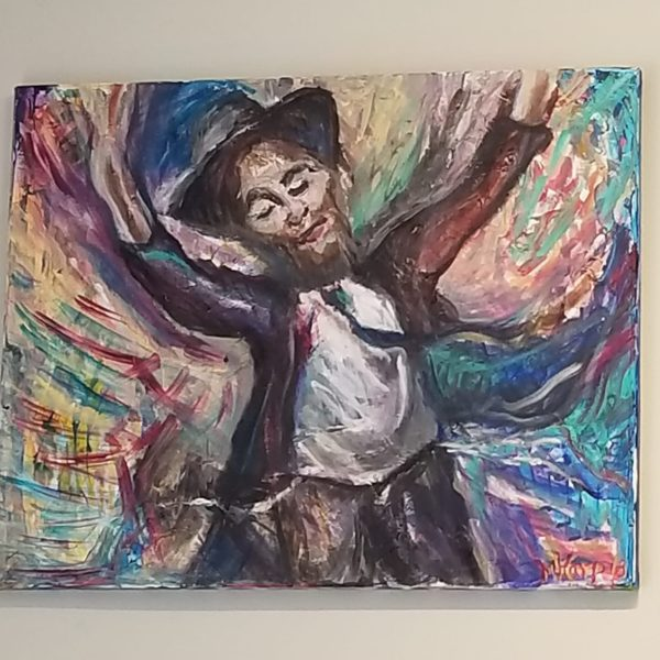 "Beautiful Crown Heights Judaica Artwork ""Reb Pinye Korf"", oil on canvas by Miriam Karp, 16x20"