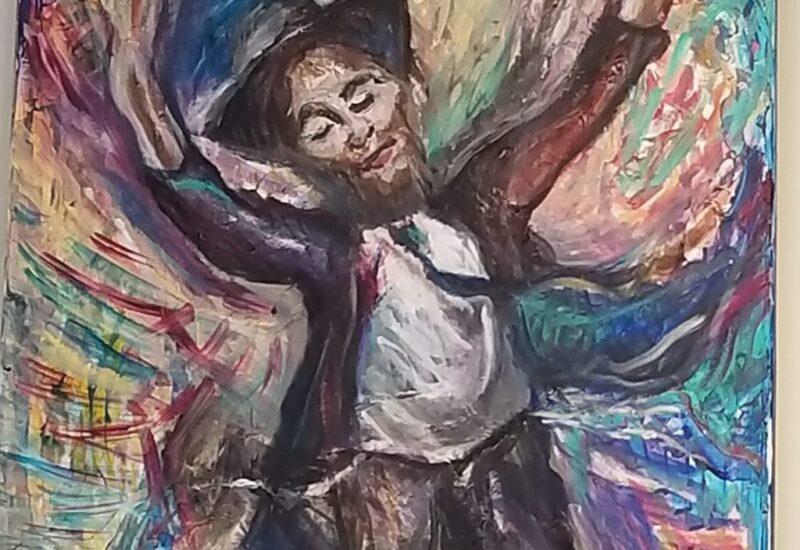 """Beautiful Crown Heights Judaica Artwork """"Reb Pinye Korf"""", oil on canvas by Miriam Karp, 16x20"""