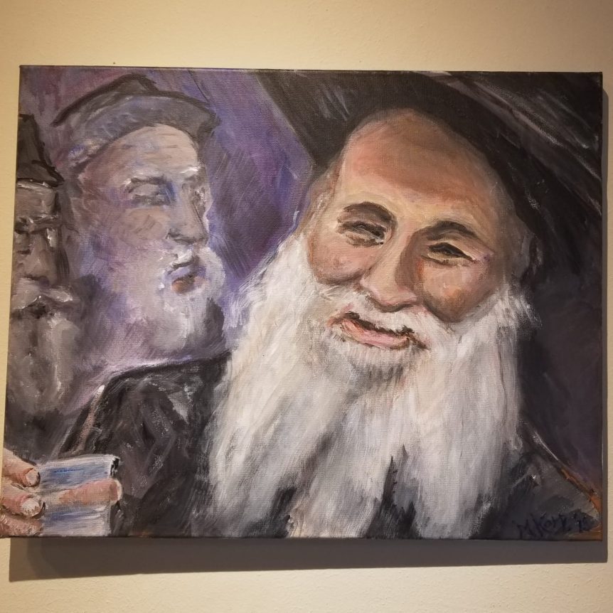 """Reb Pinye Korf"", oil on canvas by Miriam Karp, 16x20 beautiful judaica artwork brooklyn NY"