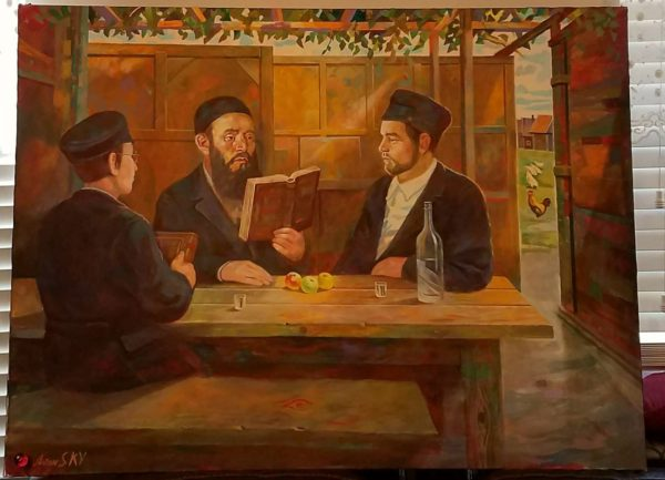 "Brooklyn Judaica Artwork Crown Heights ""Sukkos"" by Anton Kandisnky, oil on canvas, 36x48"