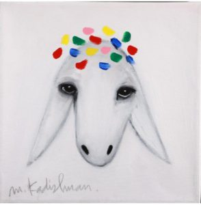 Menashe Kadishman Oil On Canvas Sheep
