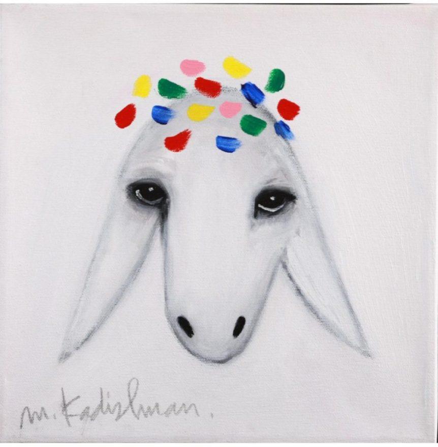 Long Island Judaica Artwork for Sale Menashe Kadishman Oil On Canvas Sheep