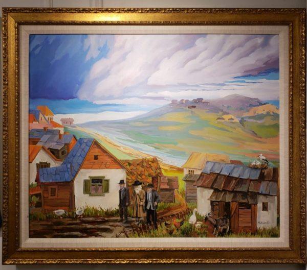 Maxim, Jewish Art, Shtetl, oil on canvas, 31x37