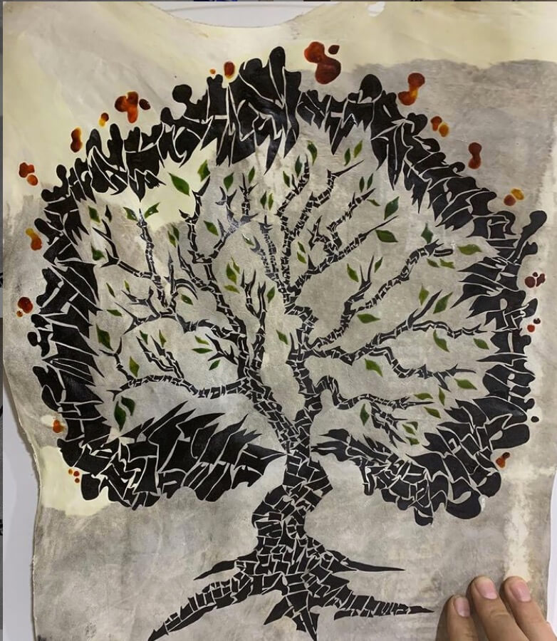 Burning Bush Hebrew Art